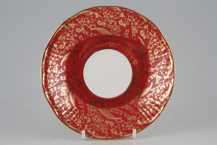 Elizabethan - Sovereign - Red - Tea Saucer - With gold line around well