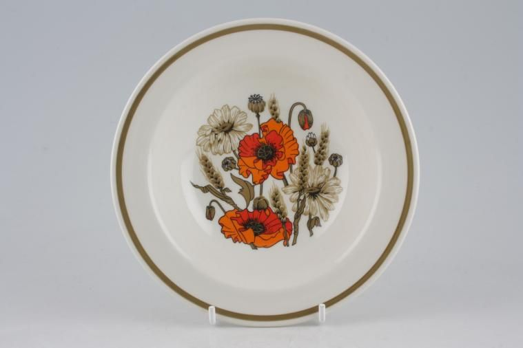Meakin - Poppy - Ridged and Rounded Bases - Fruit Saucer - Rimmed - Rounded