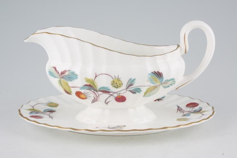Royal Worcester - Strawberry Fair - Fluted - Sauce Boat and Stand Fixed