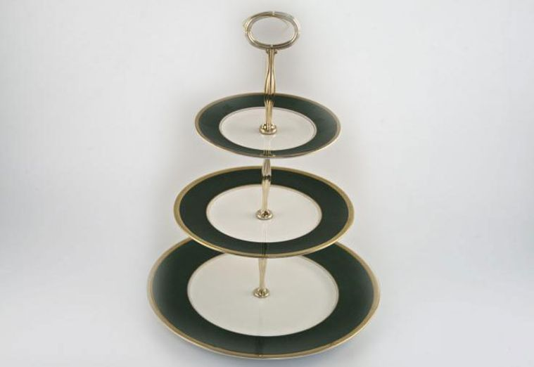 Various - Cake Stands - Cake Stand - 53 - Coalport Athlone Green, 3 tier with gold handle